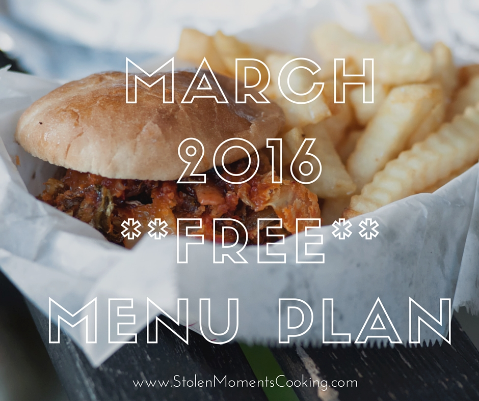 March 2016--Free--Menu Plan