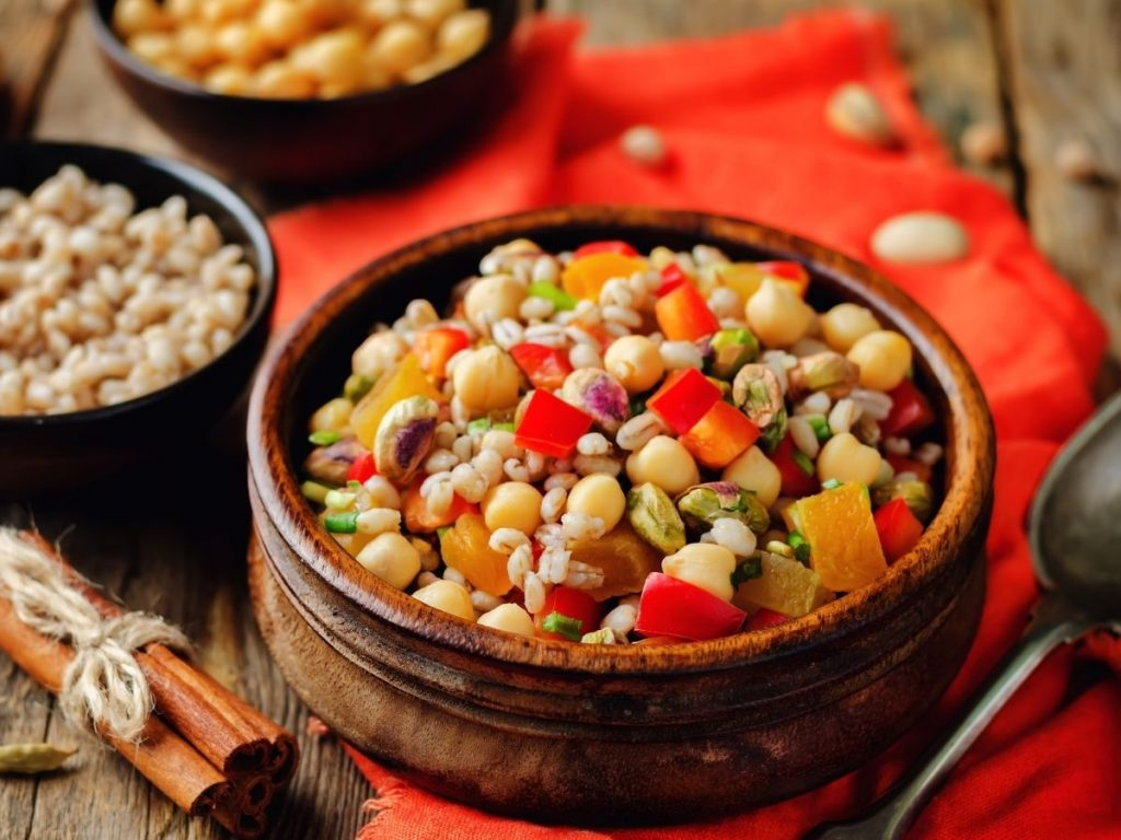 cooked barley salad in a bowl